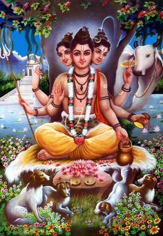 Lord Dattatreya is considered one of the lords of Yoga in Hinduism. Find a collection of Dattatreya images, photos and HD desktop / mobile wallpapers here. Shiva Hindu, Shiva Art, Hindu Deities, Krishna Art, Hindu Art, Shiva Shakti, Lord Krishna, Sri Ganesh, Ganesha Art