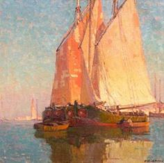 Italian Boats, No. Impressionist Paintings, Seascape Paintings, Impressionism, Matte Painting, Light Painting, Edgar Payne, Ocean Artwork, Sailboat Painting, Italy Painting