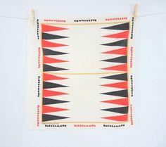 Vintage Bandana Scarf Backgammon Fabric Game by injoytreasures
