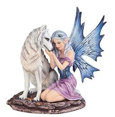 """6.75"""" Blue Winged Winter Fairy with White Wolf Pet Decor Fantasy Statue Figure"""