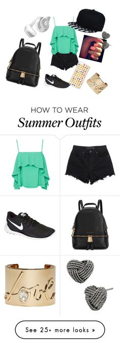 """Outside outfit "" by destiny-dashay-sparks on Polyvore featuring Alexander Wang, Apiece Apart, NIKE, Michael Kors, Beats by Dr. Dre, Betsey Johnson and Lanvin"