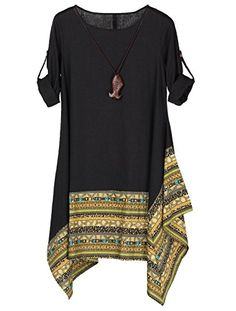Vogstyle Women's Summer Cotton Linen Short Sleeve Tee Shirt Dress Irregular  Hem Tunic Long Sleeve Black