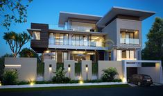 Alex Private House - Jakarta- Quality house design of architectural services, experienced professional Bali Villa Tropical designs from Emporio Architect. Modern Exterior House Designs, Modern House Facades, Modern Villa Design, Modern Architecture House, Architecture Design, Design Architect, Bungalow Exterior, Best Modern House Design, Architect Logo