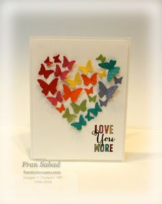 stampersblog: Butterfly Heart - Supplies Stamp Set - Love You More Card Stock - Whisper White, Real Red, Tangerine Tango, Delightful Daffodil, Wisteria Wonder, Bermuda Bay, Pear Pizzazz, Melon Mambo Ink - Jet Black Stazon Etc - Heart Framelit, Beautiful Wings Embosslit