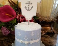 Boy Diaper Cake / One Tier Light Blue And Gray Boy Diaper Cake / Nautical Baby Shower / Nautical Diaper Cake