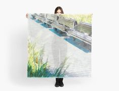 'Urban Collection - Benches in the City.' Scarf by Image Originale, Urban, Scarf Styles, Benches, Travel Mug, Watercolor Paintings, Images, Phone Cases, Stickers