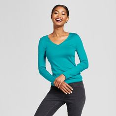Women's Fitted Long Sleeve T-Shirt - A New Day Turquoise Xxl