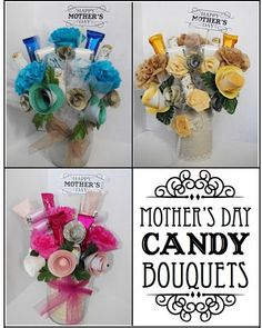 DIY CANDY ARRANGEMENTS FOR MOTHER'S DAY | Mother's Day #Candy Bouquets