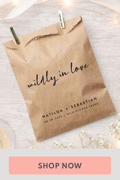 Unusual Wedding Favours, Rustic Wedding Favors, Wedding Favor Bags, Perfect Wedding, Dream Wedding, Wedding Day, Seed Shop, Wildflower Seeds, Modern Minimalist