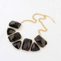 New Arrival Artificial Diamond Embellished Geometric Pattern Necklace Black pas cher