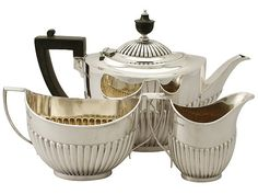 Sterling Silver Three Piece Tea Service - Queen Anne Style - Antique Edwardian  SKU: A4394 Price: GBP £1,295.00  http://www.acsilver.co.uk/shop/pc/Sterling-Silver-Three-Piece-Tea-Service-Queen-Anne-Style-Antique-Edwardian-67p8435.htm