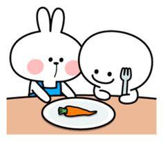 Rabbit does housework in a favorite apron. Cute Bear Drawings, Cute Cartoon Drawings, Cute Love Pictures, Cute Love Gif, Love Stickers, Kawaii Stickers, Cute Memes, Funny Cute, Pusheen Cute