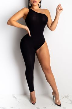 lovelywholesale / Cheap Jumpsuit Lovely Sexy Asymmetrical Black One-piece Jumpsuit Thick Girls Outfits, Curvy Outfits, Sexy Outfits, Sexy Dresses, Girl Outfits, Fashion Outfits, Black One Piece Jumpsuit, Curvy Women Fashion, Womens Fashion