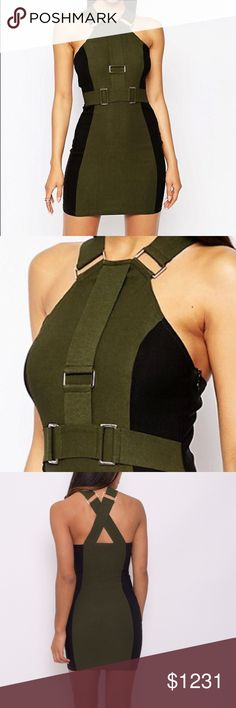 Olive Strap Bodycon with Hardware Detail Stretch crisp woven fabric High neckline with straps Buckle hardware details Contrast colors Side zip fastening Close cut body-conscious fit Hand wash 60% Cotton, 35% Polyamide, 5% Elastane Dresses Mini