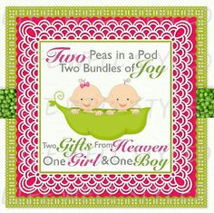 Two peas in a pod One boy and one girl baby shower invitation. Pdf/jpg. By LifeWellStyled