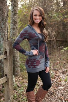 Fireside Aztec Hoodie Charcoal - The Pink Lily Boutique