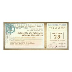 save the date boarding pass-vintage tickets card Vintage boarding pass save the date design. ------------Please contact me if you need help with customization or have a custom color request. ---------- If you push CUSTOMIZE IT button you will be able to change the font style, color, size, move it etc. it will give you more options!