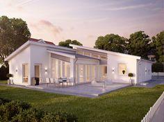 Villan Avanti är ett 1-planshus från Myresjöhus i nyfunkisstil med pulpettak. Avanti har högt i tak och stora glaspartier för härligt ljusinsläpp. Style At Home, Love Home, House With Porch, House Roof, L Shaped House, Bungalow, Ocean House, Vernacular Architecture, Pool Houses