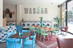 Wasbar - Laundromat Social Club - laundromat, hairdresser, cafe, bar and hangout space all in one. Such a need for this!