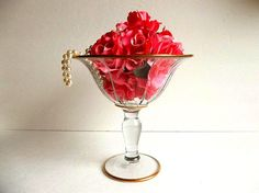 Vintage tulip vase compote with gold trim by HydrangeaHillVintage