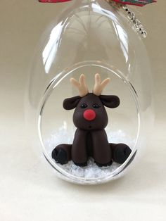 Rudolph the red nosed reindeer inside a glass bauble Unique Handmade Ornament unusual OOAK gift tree decoration by MomapawsHomecraft on Etsy