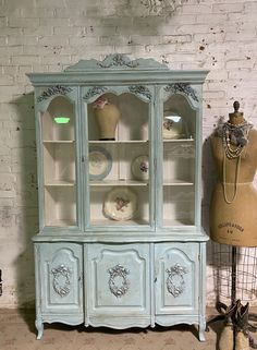 Painted Cottage Prairie Chic One of a Kind Vintage China Display Cabinet CC1110 Painted Cottage, Shabby Cottage, Cottage Chic, My Furniture, Painted Furniture, Glass Knobs, Glass Door, Faux Paint Finishes, Shabby Chic Shelves