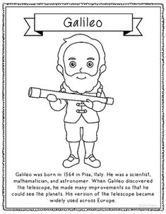 Galileo Coloring Page or Poster with Short Biography. dibujos GALILEO Coloring Page Craft or Poster, STEM Technology History History Interactive Notebook, Interactive Notebooks, Galileo Galileo, Protest Posters, Science Activities For Kids, Class Projects, Coloring Pages, France, Blog
