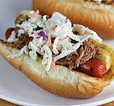 Pullin My Weenie - a favorite - weenie with pulled pork and cole slaw !!