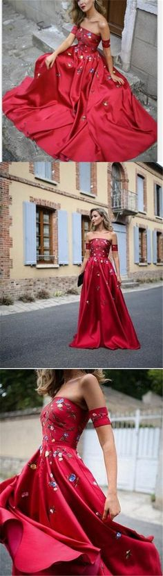 A-Line Red Off Shoulder Beautiful Flower Appliques #PromDresses, Fashion Dress for Woman, 6665718 #Prom