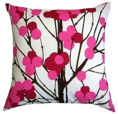 Marimekko Lumimarja Pink Floral Designer Throw Pillow by ModDiva - Stylehive