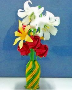 3D Origami - Tall Vase with Flowers