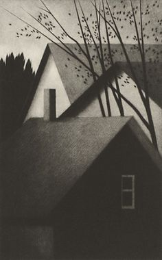 "Robert Kipniss, ""Rooftops and chimney"" Mezzotint 2009 Image size: 9 3/4 x 6 in. Edition: 40 + 8 A.P's."