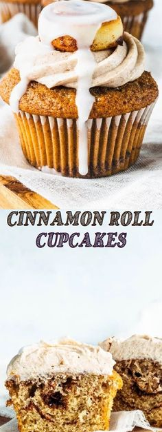 Cinnamon Swirl Cupcakes with Cinnamon Cream Cheese Frosting, topped with layered mini cinnamon rolls. However, this cupcake isn't even that . Cinnamon Roll Cupcakes, Mini Cinnamon Rolls, Swirl Cupcakes, Cupcake Recipes, Baking Recipes, Dessert Recipes, Dessert Ideas, Breakfast Recipes, Bar Recipes