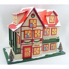 """CC Christmas Decor 14"""" Snow-Capped Lake Inn Wooden House Christmas Advent Calendar with Doors Table Top Decoration (Home Bazaar)"""