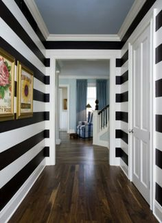 striped hallway-gotta have this in my house Decor, House Design, House, Home, Interior Design Foyers, New Homes, Striped Hallway, Home Deco, Striped Walls