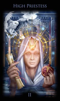 High Priestess card from the Legacy of the Divine Tarot. The High Priestess says we will know the truth when we stop and listen the small, still voice within.