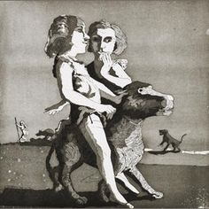 Young Predators, etching and aquatint, by Paula Rego Etching Prints, Identity Art, Royal College Of Art, Girl And Dog, Print Artist, Sculpture, Contemporary Paintings, Art Techniques, Painting & Drawing