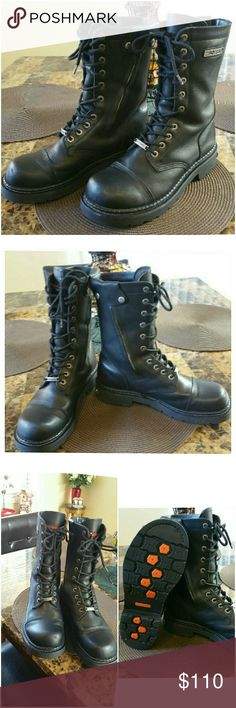 Men's Harley Davidson Ranger Lace up Boots.  10.5 Beautiful Boots!  Worn once only!  Awesome Men's  lace up Boots with optional zipper on insides.  Purchased in 2006 at Harley Davidson in Austin Texas. Very well cared for, stored in closet in non smoking, non cat home. Original purchase price was 150.00 plus tax. Please see all pictures for details. Exceptional quality. Will consider offers. If you low ball, I will ignore you. Have a nice day. Harley-Davidson Shoes Combat & Moto Boots