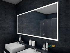LED Illuminated Bathroom Mirror By Artforma To Measure Custom Size Lowes Bathroom Mirrors, Bathroom Mirror Lights, Mirror With Lights, Bathrooms, Salon Mirrors, Mirror Shapes, New Room, Decoration, House Design