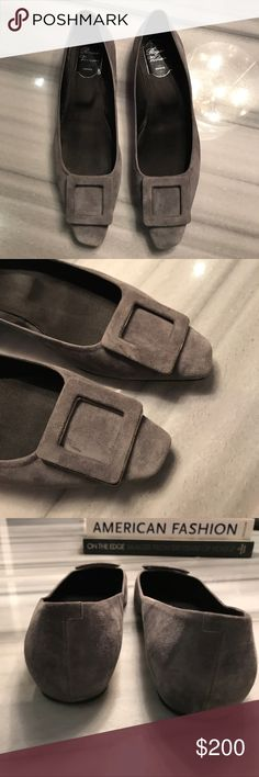 Rodger Vivier Grey Suede Ballerina Flats Roger Vivier Gray Suede Ballerina Flats . Angled square toe.  Iconic pilgrim buckle detail in covered suede. Black satin lining with leather sole. Lightly padded footbed. Beautiful Gray suede. Made in Italy. Size 39. Good condition. Roger Vivier Shoes Flats & Loafers