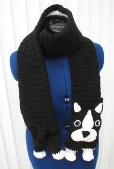 Boston Terrier Scarf Ready To Ship by DonnasCrochetDesigns on Etsy