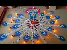Beautiful Diya Rangoli Designs With Colours - For Festivals and Competitions - By Maya ! - YouTube