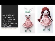 Amigurumi Ponçik Kedi/ Tavşan Ve Saçlı Bebek Yapılışı (Tek Tarif Üç Farklı Oyuncak) FREE PATTERN