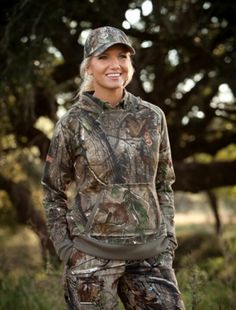 This is the first picture where I see she is actually prepared (clothing wise) for hunting!   Most of the pictures are of bikini camo.... men lol