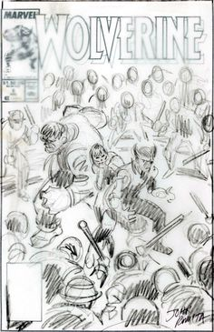"""thebristolboard: """"Preliminary sketch, orginal and final cover art by John Buscema from Wolverine published by Marvel Comics, May """" Comic Book Artists, Comic Books Art, Black And White Comics, Black White, John Romita Jr, John Buscema, Comic Drawing, Animation Reference, Classical Art"""