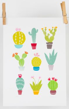 Cactus illustration contemporary giclee digital print by MaggieMagoo Designs