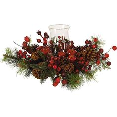 <li>Jeweled berries, gleaming apples, pinecones and evergreen branches create a silk arrangement perfect for any seasonal decor<li>Decorative accessory boasts glass hurricane candle base<li>Silk plant will provide years of maintenance-free pleasure