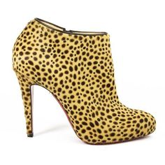 Pre-Owned Christian Louboutin Cheetah Print Pony Hair Ankle Booties ($465) ❤ liked on Polyvore featuring shoes, boots, ankle booties, brown, calf hair boots, side zipper boots, cheetah booties, brown ankle booties and high heel ankle booties