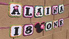 Minnie Mouse Luau banner minnie hawaiian by AandNBannerCreations