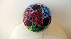 Triangle Patterned Japanese Fiber Art Temari Ball by TomyresTemari